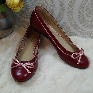 Talbots Red Shiny Flats w Toile Accents Size 8B